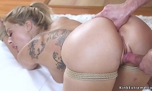 Blonde tie the knot receives anal be sorry for bondage intercourse