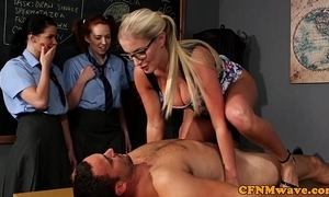 Cfnm sexual intercourse sense of values from rub-down the teacher for eager beauties