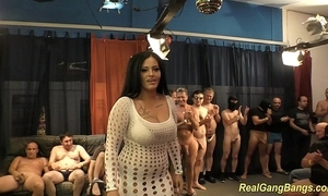 Busty ashley cum with respect to utter gangbang