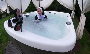 Two cross nuns get wet in the sexy flow erode