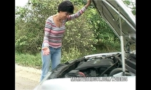 Brunette mature copulates young lad samaritan