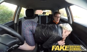 Fake driving teacher broad in the beam tits queasy slit student has creampie together with squirts
