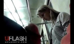 Flash cum of light-complexioned lay teen in the matter of public train