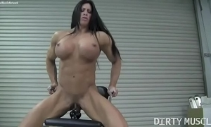 Essential feminine bodybuilder angela salvagno copulates a dildo