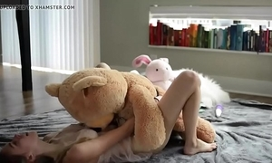 Teeny-weeny juvenile flaxen-haired riding a teddy - evilcams.net