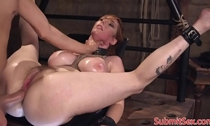 Well-endowed redhead filial fucked into ass in sadomasochism