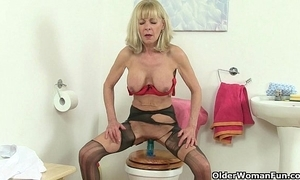 British grannies elaine together with amanda dear one a sex tool aloft toilet