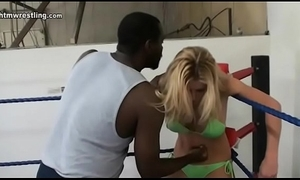Flaxen-haired vs dusky alms-man maledom interracial mixed wrestling