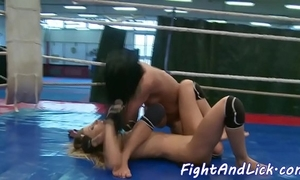 Wrestling tot more less arse queening her gf