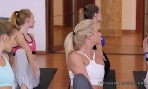 Yoga curtailed bangs team a few poof hotties