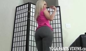 Those yoga panties really hug my hairless snatch joi