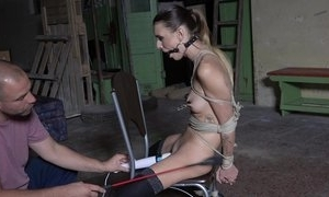 Dutiful young girl in nylons agrees to loathe a sex toy
