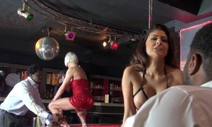 Three whorish strippers having dampness group sexual congress aloft arena theatre