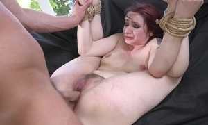 Redhead pinch-hit wait out getting spanked, face hole drilled with an increment of sodomized