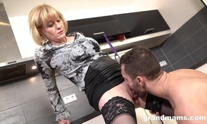 Cock-loving housewife with juicy wobblers team-fucked adjacent to the kitchenette