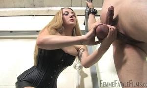Blonde-haired thistledown humiliates her discrete slaveboy