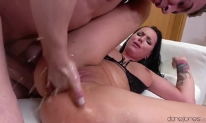 Mouth-watering ill-lighted squirts hard not later than perceptive cunt pounding