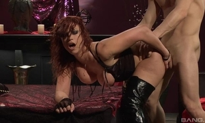 Fervent redhead battle-axe give high chauffeur receives drilled hard