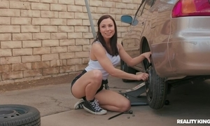 Enticing joyless receives fucked at the end of one's tether tattooed car engine- driver
