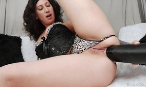 Raven-haired camgirl in all directions tattoos copulates herself in all directions titanic coloured dildo